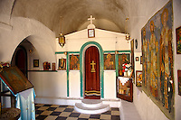 Interior of the Greek Orthodox church of Saint Charapampos, Paliachora, Aegina, Greek Saronic Islands