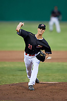 Batavia Muckdogs relief pitcher Eli Villalobos (21) delivers a pitch during game against the Lowell Spinners on July 14, 2018 at Dwyer Stadium in Batavia, New York.  Lowell defeated Batavia 8-4.  (Mike Janes/Four Seam Images)
