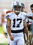 Brigham Young Cougars wide receiver Dalin Tollestrup (17) in action during the game between the Brigham Young Cougars and the Texas Longhorns at the Darrell K Royal - Texas Memorial Stadium in Austin, Texas. Texas defeats Brigham Young 17 to 16...