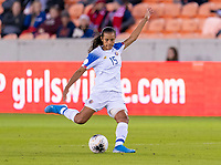 HOUSTON, TX - JANUARY 31: Stephannie Blanco #15 of Costa Rica crosses the ball during a game between Haiti and Costa Rica at BBVA Stadium on January 31, 2020 in Houston, Texas.