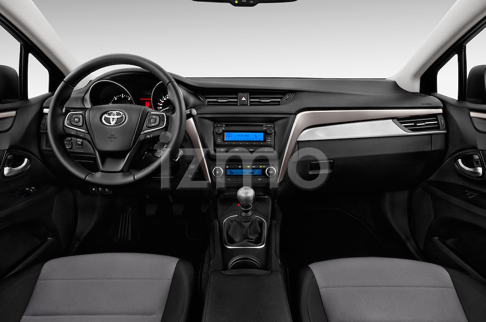Stock photo of straight dashboard view of 2015 Toyota Avensis Active 4 Door Sedan Dashboard