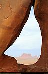 Tear Drop Arch framing Brigham's Tomb and King on his Throne, Horseshoe Canyon, Monument Valley Navajo Tribal Park, Navajo Nation Reservation, Utah/Arizona Border