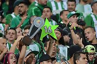 MEDELLÍN - COLOMBIA - 18 - 06 - 2017: Hinchas de Atletico Nacional, animan a su equipo, durante partido de vuelta, de la final entre Atletico Nacional y Deportivo Cali, por la Liga Águila I 2017, jugado en el estadio Atanasio Girardot de la ciudad de Medellín. / Fans of Atletico Nacional, cheer for their team, during a match of the second leg of the final between Atletico Nacional and Deportivo Independiente Medellin for the Aguila League I 2017, played at Atanasio Girardot stadium in Medellin city. Photo: VizzorImage / León Monsalve / Cont.