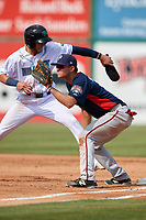 Potomac Nationals first baseman Ian Sagdal (1) waits for a pickoff attempt throw as Alexis Pantoja (6) gets back to the bag during the first game of a doubleheader against the Lynchburg Hillcats on June 9, 2018 at Calvin Falwell Field in Lynchburg, Virginia.  Lynchburg defeated Potomac 5-3.  (Mike Janes/Four Seam Images)