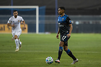 SAN JOSE, CA - OCTOBER 03: Marcos Lopez #27 of the San Jose Earthquakes controls the ball during a game between Los Angeles Galaxy and San Jose Earthquakes at Earthquakes Stadium on October 03, 2020 in San Jose, California.