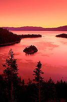 Emerald Bay at sunrise looking towards Nevada, Lake Tahoe, California.
