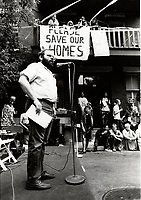 Montreal (QC) CANADA file photo - August 2 1987, Arnold Bennett (RCM) support the Overdale residents in their fight against a promoter.