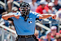 20 May 2018: MLB Umpire Chad Fairchild works home plate during a game between the Los Angeles Dodgers and the Washington Nationals at Nationals Park in Washington, DC. The Dodgers defeated the Nationals 7-2, sweeping their 3-game series. Mandatory Credit: Ed Wolfstein Photo *** RAW (NEF) Image File Available ***