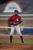 Mahoning Valley Scrappers relief pitcher Maiker Manzanillo (48) gets ready to deliver a pitch during a game against the Batavia Muckdogs on August 30, 2017 at Dwyer Stadium in Batavia, New York.  Batavia defeated Mahoning Valley 5-1.  (Mike Janes/Four Seam Images)
