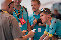 Jakob Fuglsang (DEN/Astana) interviewed during warm-down after the stage<br /> <br /> Stage 1: Noirmoutier-en-l'Île > Fontenay-le-Comte (189km)<br /> <br /> Le Grand Départ 2018<br /> 105th Tour de France 2018<br /> ©kramon