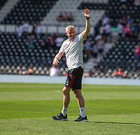 18th July 2021; Pride Park, Derby, East Midlands; Pre Season Friendly Football, Derby County versus Manchester United; Manchester United manager Ole Gunnar Solskjsaer salutes the fans after the game