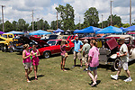 July 8, 2017- Tuscola, IL- Classic car lovers look at vehicles spanning several decades in the Wheels Car Club show during the 2017 Tuscola Sparks in the Park celebration. [Photo: Douglas Cottle]