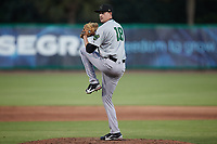 Augusta GreenJackets relief pitcher James Acuna (18) in action against the Charleston Boiled Peanuts at Joseph P. Riley, Jr. Park on June 26, 2021 in Charleston, South Carolina. (Brian Westerholt/Four Seam Images)