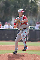 Pitcher Casey Smith #20 of the University of Indiana Hoosiers on the mound during a game against the Virginia Tech Hokies at Watson Stadium at Vrooman Field in Conway, South Carolina on February 18, 2011. Photo by Robert Gurganus/Four Seam Images