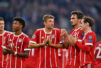 18.10.2017, Football UEFA Champions League 2017/2018,  , 3. match day, FC Bayern Muenchen - Celtic Glasgow, in Allianz-Arena Muenchen, Thomas Mueller (FC Bayern Muenchen) and Mats Hummels (FC Bayern Muenchen) diskutieren .   David Alaba (FC Bayern Muenchen), Thomas Mueller (FC Bayern Muenchen), Mats Hummels (FC Bayern Muenchen) and Sebastian Rudy (FC Bayern Muenchen)  *** Local Caption *** © pixathlon<br /> <br /> +++ NED + SUI out !!! +++<br /> Contact: +49-40-22 63 02 60 , info@pixathlon.de