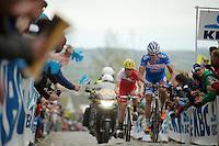 James Vanlandschoot (BEL/Wanty-GroupeGobert) & Romain Zingle (BEL/Cofidis) had to let the breakaway go on the Oude Kwaremont<br /> <br /> Ronde van Vlaanderen 2014
