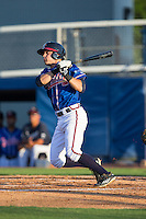 J.B. Moss (4) of the Danville Braves follows through on his swing against the Kingsport Mets at American Legion Post 325 Field on July 9, 2016 in Danville, Virginia.  The Mets defeated the Braves 10-8.  (Brian Westerholt/Four Seam Images)