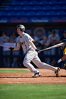 Army West Point second baseman Josh White (3) at bat during a game against the Michigan Wolverines on February 17, 2018 at First Data Field in St. Lucie, Florida.  Army defeated Michigan 4-3.  (Mike Janes/Four Seam Images)