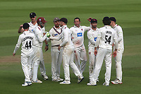 Somerset bowler, Roelof Van Der Merwe celebrates taking the wicket of Surrey batsman, Jamie Overton, in the last over of the day during Surrey CCC vs Somerset CCC, LV Insurance County Championship Group 2 Cricket at the Kia Oval on 13th July 2021