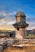 A Lycian  marble pillar tomb from 480-470 B.C.  Xanthos UNESCO World Heritage Archaeological Site, Turkey