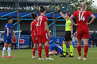 2nd May 2021; Kingsmeadow, London, England;  Lina Magull of Bayern Munich sees a yellow card for her foul on Fran Kirby of Chelsea that led to Chelsea's 2nd goal during the UEFA Womens Champions League Semi Final game between Chelsea and Bayern Munich at Kingsmeadow