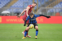 Nicolo' Barella of Inter and Edin Dzeko of Roma  during the Serie A football match between AS Roma and FC Internazionale at Olimpico stadium in Roma (Italy), January 10th, 2021. Photo Andrea Staccioli / Insidefoto