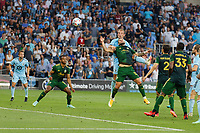 ST PAUL, MN - JULY 24: Chase Gasper #77 of Minnesota United FC scores a goal during a game between Portland Timbers and Minnesota United FC at Allianz Field on July 24, 2021 in St Paul, Minnesota.