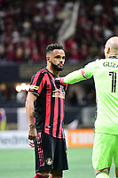 ATLANTA, GA - MARCH 07: ATLANTA, GA - MARCH 07: Atlanta United goalkeeper Brad Guzan gives instructions to defender Anton Walkes during the match against FC Cincinnati, which Atlanta won, 2-1, in front of a crowd of 69,301 at Mercedes-Benz Stadium during a game between FC Cincinnati and Atlanta United FC at Mercedes-Benz Stadium on March 07, 2020 in Atlanta, Georgia.