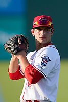 Second baseman Nick Yorke (4), 2020 Boston Red Sox first-round draft pick, made his High-A debut with the Greenville Drive in a game against the Hickory Crawdads on Tuesday, August 24, 2021, at Fluor Field at the West End in Greenville, South Carolina. (Tom Priddy/Four Seam Images)