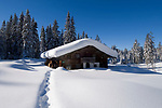 Deutschland, Bayern, Chiemgau: Schneelandschaft auf der Winklmoosalm - Almhuette | Germany, Bavaria, Chiemgau: winter landscape at Winklmoosalm - alpine pasture hut