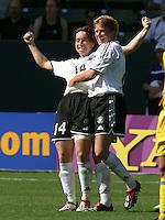 Maren Meinert, left, Sandra Smisek, right, Germany 2-1 over Sweden at the  WWC 2003 Championships.