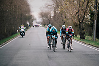 Bob JUNGELS (LUX/Deceuninck-Quick Step) and his breakaway companions relaxing/speeding down Tiegemberg<br /> <br /> 71th Kuurne-Brussel-Kuurne 2019 <br /> Kuurne to Kuurne (BEL): 201km<br /> <br /> ©kramon