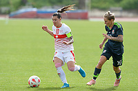 20180305 - LARNACA , CYPRUS : Swiss Ramona Bachmann (left) pictured on the ball in front of Welsh Jessica Fishlock (r) during a women's soccer game between Switzerland and Wales , on monday 5 March 2018 at GSZ Stadium in Larnaca , Cyprus . This is the third game in group A for Switzerland and Wales during the Cyprus Womens Cup , a prestigious women soccer tournament as a preparation on the World Cup 2019 qualification duels. PHOTO SPORTPIX.BE | DAVID CATRY