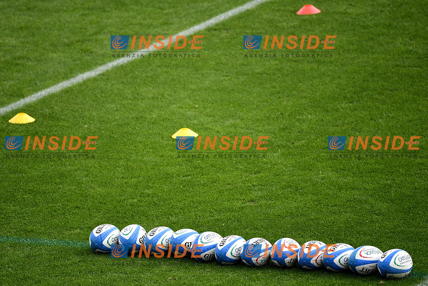 A serie of Gilbert balls are seen on the pitch during the rugby Autumn Nations Cup's match between Italy and Scotland at Stadio Artemio Franchi on November 14, 2020 in Florence, Italy. Photo Andrea Staccioli / Insidefoto