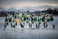UAA Seawolves Hockey starters pose for a photo on the ice at Anchorage's Westchester Lagoon. From left:  #9 forward Nick Wicks, #30 goaltender Kris Carlson, #10 forward Tanner Schachle, #13 forward Alex Frye, #23 forward Eric Sinclair, #24 forward Luc Brown.