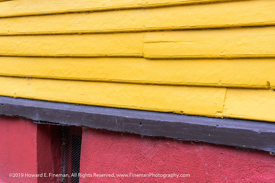Colorful foundation and siding in Skavanger house