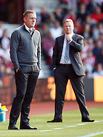 Swansea City manager Garry Monk and Southampton Manager Ronald Koeman  during the Barclays Premier League match between Southampton v Swansea City played at St Mary's Stadium, Southampton
