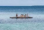 Family fishing in Funafuti, Tuvalu