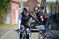Jasper Stuyven (BEL/Trek Factory Racing) geeting some on the fly assistance<br /> <br /> 2014 Paris-Roubaix reconnaissance