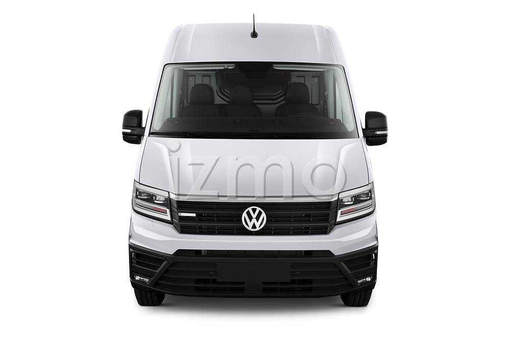 Car photography straight front view of a 2020 Volkswagen Crafter e-Crafter 4 Door Cargo Van Front View