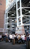 Ballparks: Cleveland--Jacobs Field, 1994. A food court behind third. Hellmut-Obata-Kassebaum Architects, St. Louis.