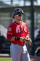 Cincinnati Reds catcher Pabel Manzanero (83) during an Instructional League game against the Oakland Athletics on September 29, 2017 at Lew Wolff Training Complex in Mesa, Arizona. (Zachary Lucy/Four Seam Images)