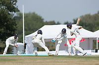 Joe Weatherley leaves a turning delivery surrounded by the Middlesex close fielders during Middlesex CCC vs Hampshire CCC, Bob Willis Trophy Cricket at Radlett Cricket Club on 11th August 2020