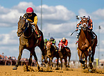 CHARLES TOWN, WEST VIRGINIA - APRIL 20: Clubman #1, ridden by Xavier Perez puts away Cool Arrow #2, ridden by Kendrick Carmouche, in the stretch for the win in Russell Road Stakes on Charles Town Classic Day at Charles Town Races and Slots in Charles Town, West VIrginia. Scott Serio/Eclipse Sportswire/CSM