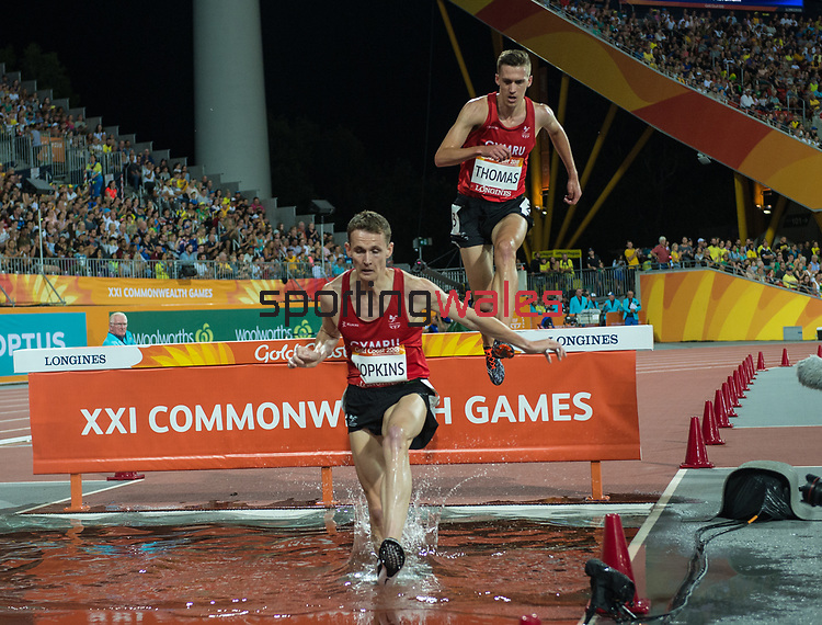 Wales Jonathan Hopkins and  Ieuan Thomas compete in the Men's 3000m Steplechase<br /> <br /> *This image must be credited to Ian Cook Sportingwales and can only be used in conjunction with this event only*<br /> <br /> 21st Commonwealth Games - Athletics - Day 9 - 13\04\2018 - Carrara Stadium - Gold Coast City - Australia