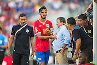 Orlando, Florida - Saturday, June 04, 2016: Costa Rican midfielder Bryan Ruiz (10) is congratulated by staff during a Group A Copa America Centenario match between Costa Rica and Paraguay at Camping World Stadium.