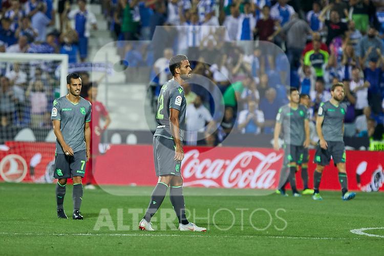 Real Sociedad's Juan Miguel Jimenez and Willian Jose Da Silva during La Liga match. August 24, 2018. (ALTERPHOTOS/A. Perez Meca)