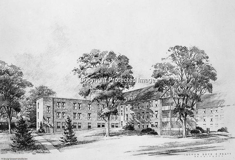 Pittsburgh PA:  An Ingham, Boyd, and Pratt rendering of the proposed University of Pittsburgh Field House. Ingham, Boyd, and Pratt were some of the premier architects in Pittsburgh that did a lot of work for Universities, hospitals, and local school districts in the Pittsburgh area.