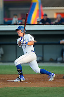 Zane Evans (17) of the Burlington Royals follows through on his swing against the Princeton Rays at Burlington Athletic Stadium on June 24, 2016 in Burlington, North Carolina.  The Rays defeated the Royals 16-2.  (Brian Westerholt/Four Seam Images)