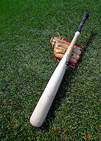 12 July 2008: A baseball glove and wooden bat lie on the playing field prior to a game between the Washington Nationals and the Houston Astros at Nationals Park in Washington, DC. The Astros defeated the Nationals 6-4 in the second game of their 3-game series...Mandatory Photo Credit: Ed Wolfstein Photo